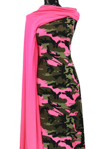 Camo in Neon Pink - $17.50 pm - Double Brushed Poly