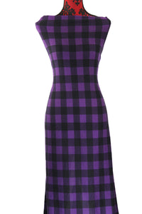Purple Buffalo Plaid -  $19.00 per metre - Brushed Hachi Sweater Knit