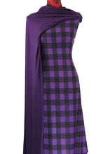 Load image into Gallery viewer, Purple Buffalo Plaid -  $19.00 per metre - Brushed Hachi Sweater Knit