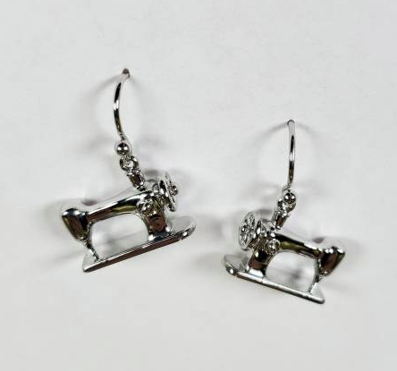 Sewing Machine Drop Earrings - Silver