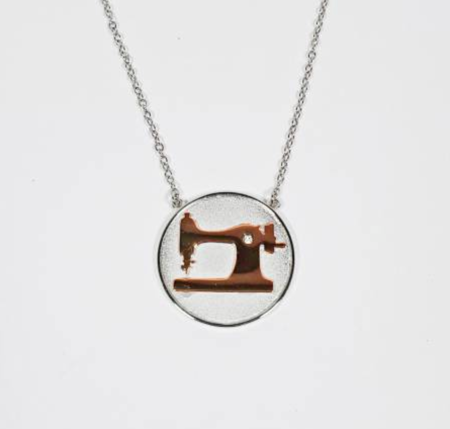 Coin Sewing Machine Necklace - Rose Gold and Silver