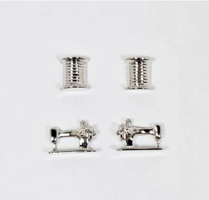Thread and Machine Set of 2 Earrings - Silver