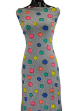 Load image into Gallery viewer, Smiley Faces in Grey Cotton Spandex - $18.50 per metre