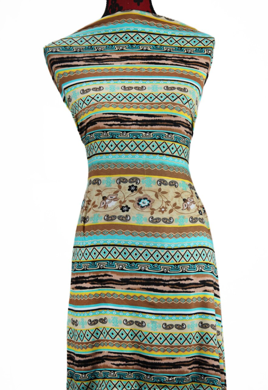 Turquoise Tribal -  $18.50pm - Rayon Spandex
