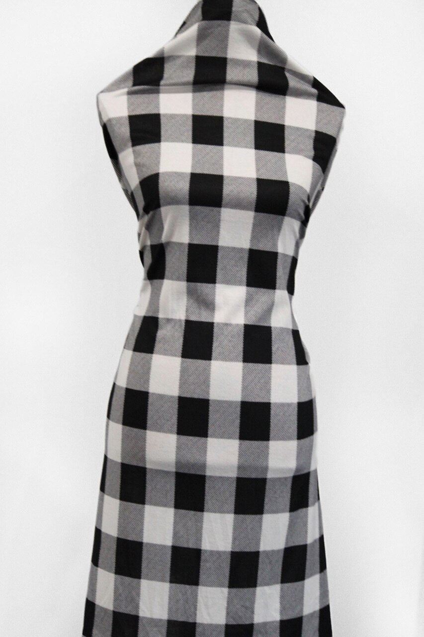 White Plaid -  $18.00 per metre - Hachi Sweater Knit