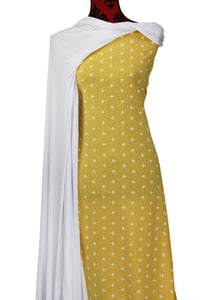 Yellow Crosses 100% Cotton (Knit) - $18.50 per metre