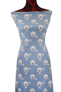 Blue Teddy Bears - $17.50 PM - Brushed 100% Cotton Woven