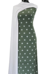 Distressed Stars in Sage - $19.50 per metre - French Terry