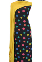 Load image into Gallery viewer, Smiley Faces in Black Cotton Spandex - $18.50 per metre