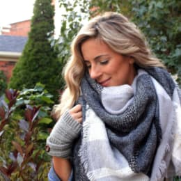 Wrapped in warmth, grey on grey blanket scarf