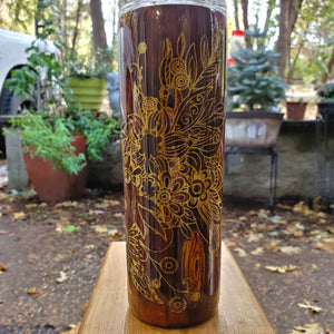 Floral Wood Inlay Tumber | Custom Tumbler | Floral Tumber | Epoxy Travel Mug