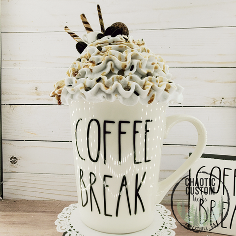 Coffee Break Faux Whipped Cream Mug Topper| Tiered Tray Decor | Rae Dunn Mug Topper | International Shipping