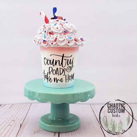 Country Roads | USA Faux Whipped Cream Tiered Tray Decor | Optional Quotes