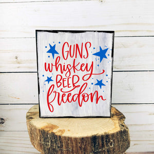 Guns & Whiskey 3.5x4 Mini Sign | Tiered Tray Sign | Farmhouse Decor