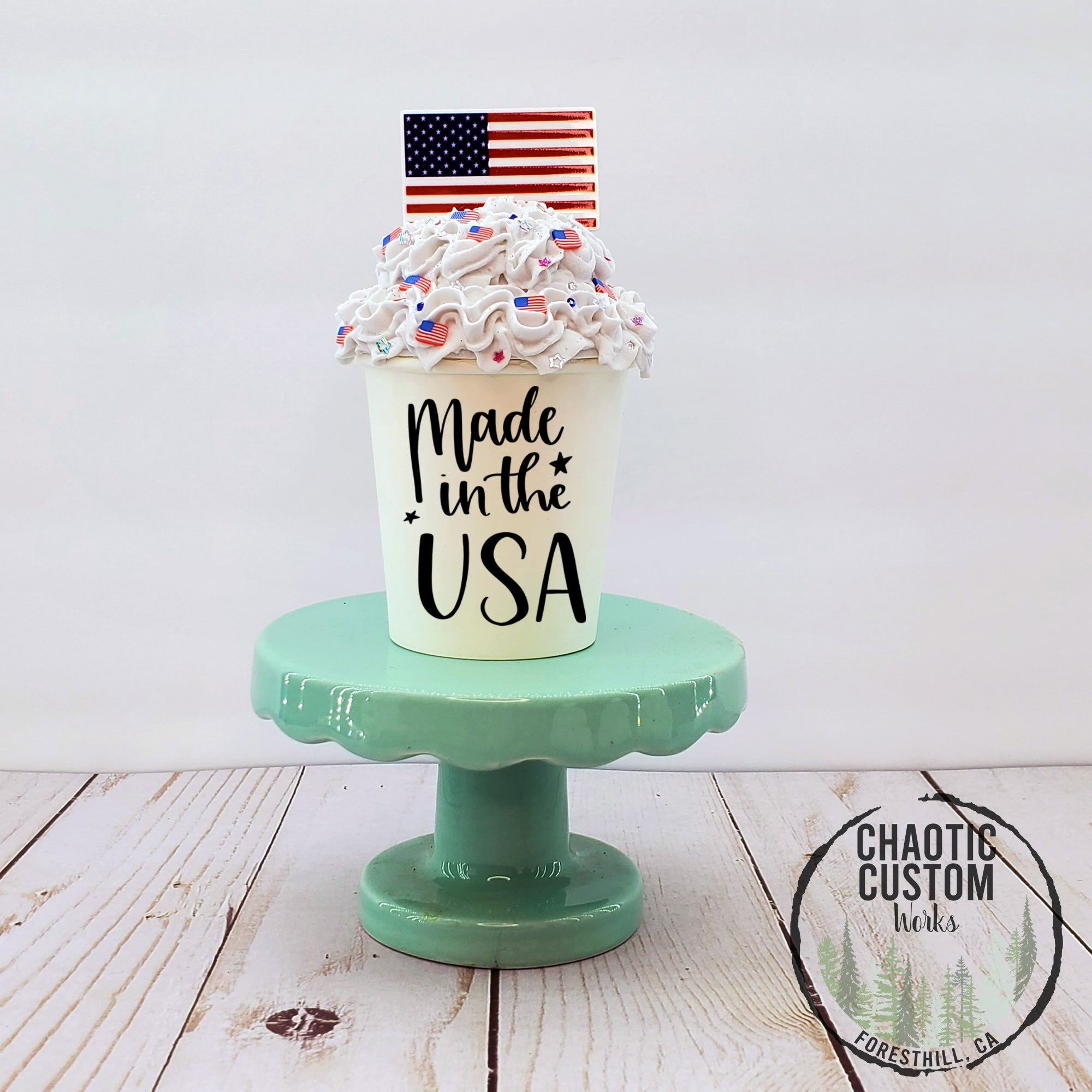 Home of the Brave | America | USA Faux Whipped Cream Tiered Tray Decor | Starbucks Inspired | Rae Dunn Inspired | Optional Quotes