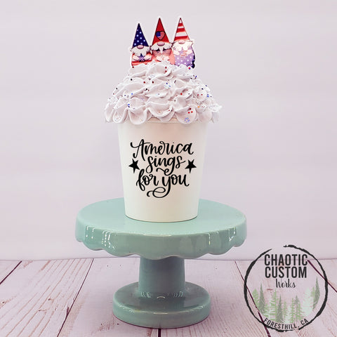 Kaboom Time | America | USA Faux Whipped Cream Tiered Tray Decor | Optional Quotes