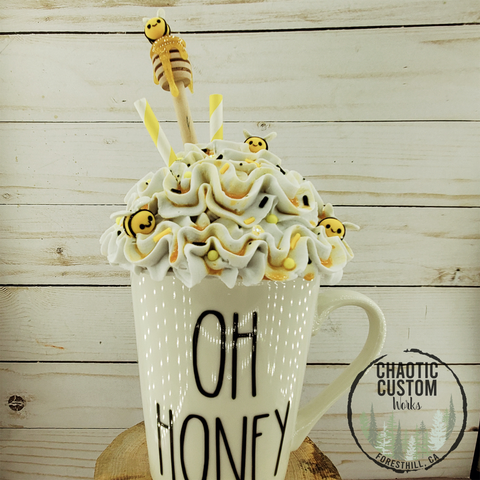 Oh Honey Faux Whipped Cream Mug Topper | Tiered Tray Decor | Rae Dunn Mug Topper | International Shipping