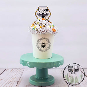 Queen B Faux Whipped Cream Tiered Tray Bee Decor  | Optional Quotes
