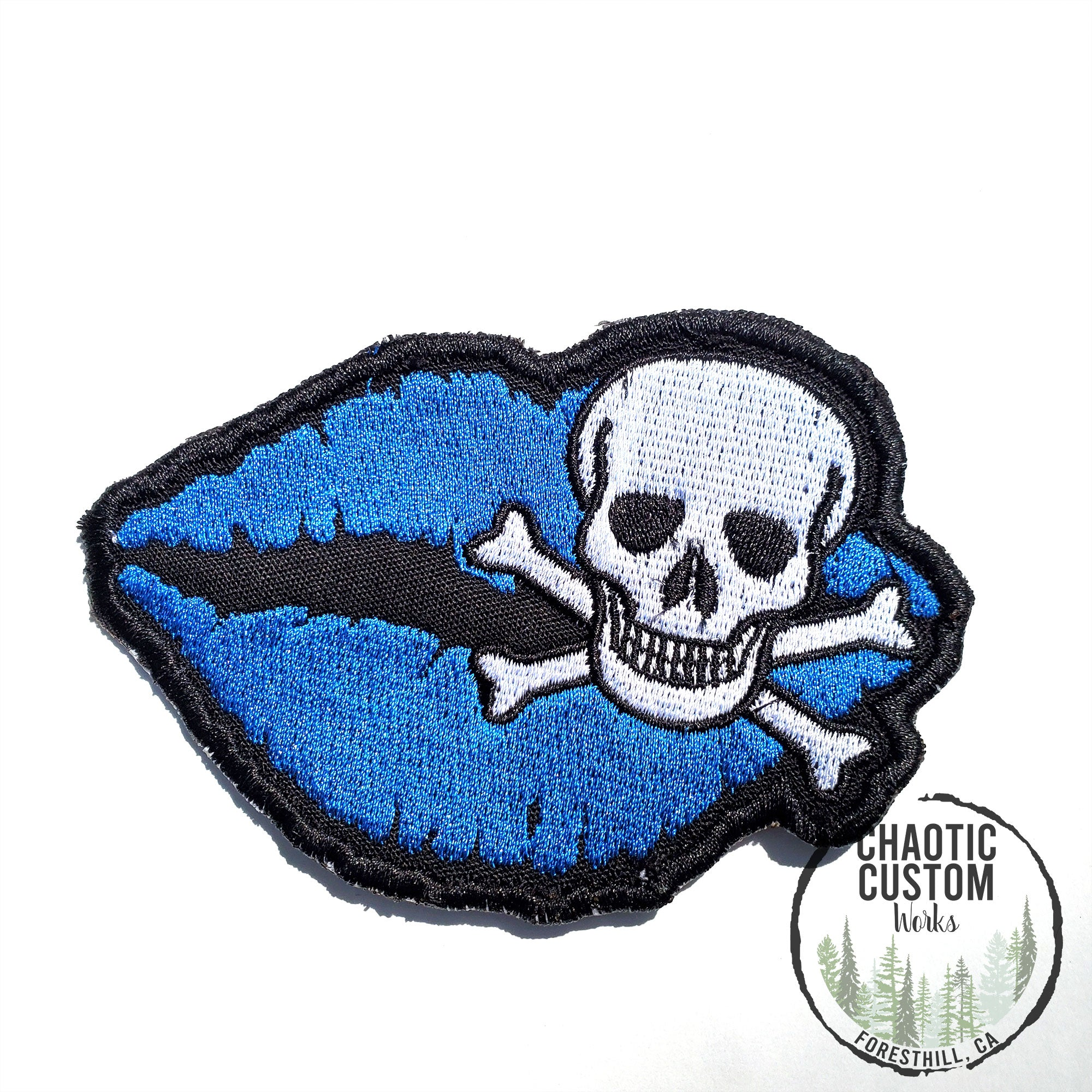 Skull Lips In Blue Iron On Embroidered Patch