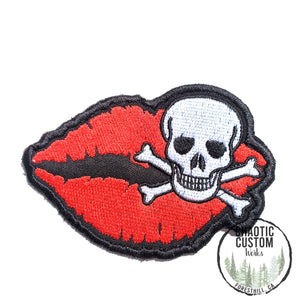 Skull Lips In Red Iron On Embroidered Patch