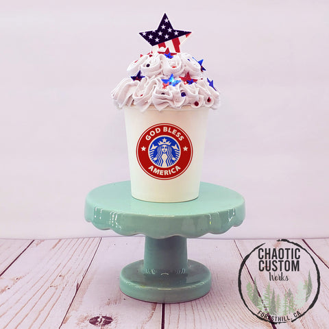 Sparkling 4th | America | USA Faux Whipped Cream Tiered Tray Decor | Starbucks Inspired | Rae Dunn Inspired | Optional Quotes
