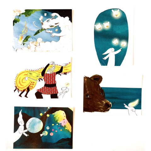 The Only Lonely Cloak Postcards Set of 5  - 5 Cartes Postales Le Petit Capelet