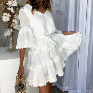 dc3b7f8a34 Simplee Elegant embroidery white women dress Flare sleeve ruffle sashes  summer dresses Casual v-neck