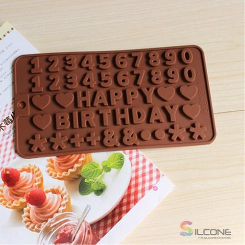 Image of Alphabet Birthday Cake Chocolate Silicone Mold