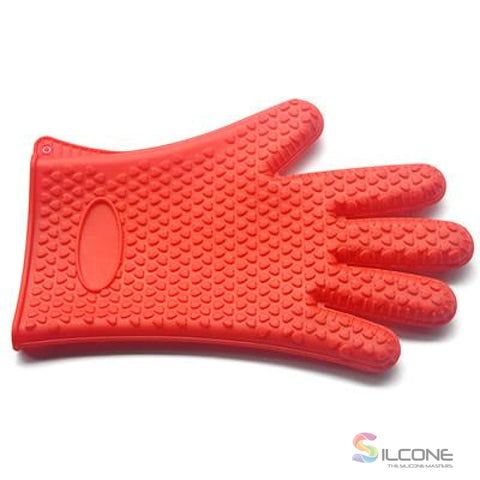 Image of Silicone Gloves Waterproof Heat Resistant Red