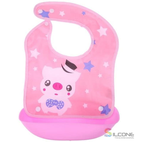Image of Waterproof Silicone Bibs Rubber Baby For Toddler Wipe Off Roll Up Boys Girls Unisex 01