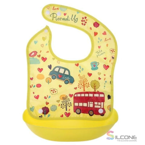 Image of Waterproof Silicone Bibs Rubber Baby For Toddler Wipe Off Roll Up Boys Girls Unisex 02