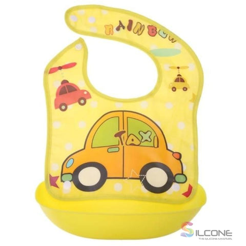 Image of Waterproof Silicone Bibs Rubber Baby For Toddler Wipe Off Roll Up Boys Girls Unisex 03
