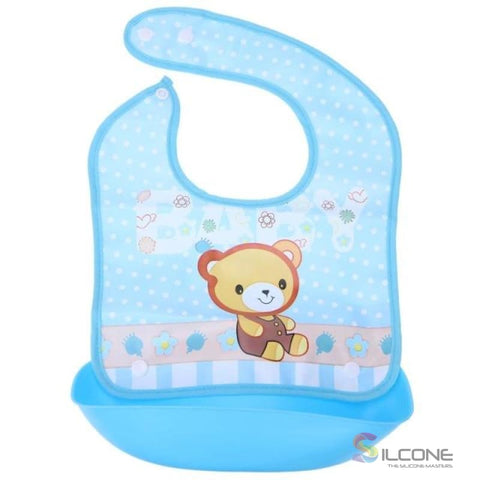 Image of Waterproof Silicone Bibs Rubber Baby For Toddler Wipe Off Roll Up Boys Girls Unisex 04