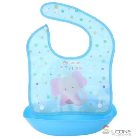 Image of Waterproof Silicone Bibs Rubber Baby For Toddler Wipe Off Roll Up Boys Girls Unisex 05