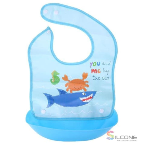 Image of Waterproof Silicone Bibs Rubber Baby For Toddler Wipe Off Roll Up Boys Girls Unisex 06