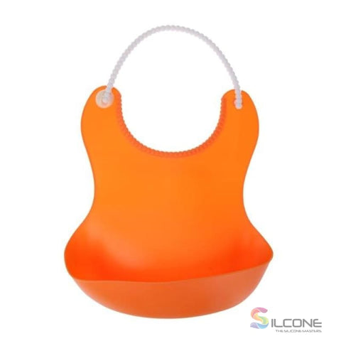 Image of Waterproof Silicone Bibs Rubber Baby For Toddler Wipe Off Roll Up Boys Girls Unisex Orange