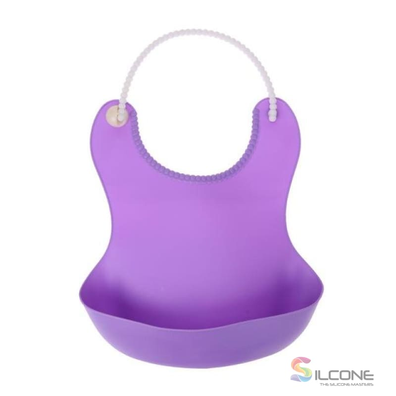 Waterproof Silicone Bibs Rubber Baby For Toddler Wipe Off Roll Up Boys Girls Unisex Purple