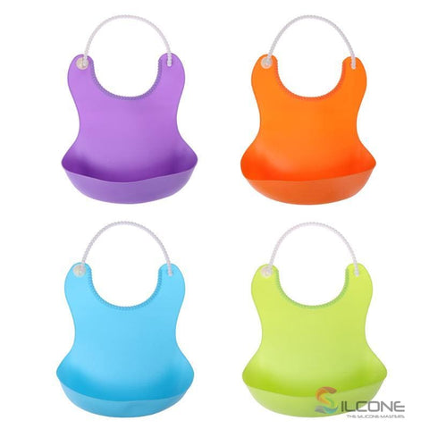 Image of Waterproof Silicone Bibs Rubber Baby For Toddler Wipe Off Roll Up Boys Girls Unisex