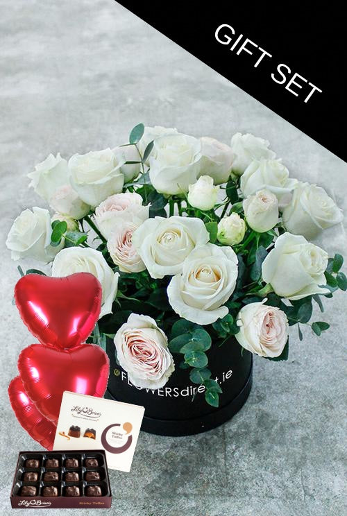 White Kisses Hatbox with Chocolates & Balloons (3)