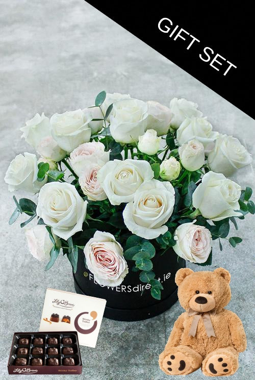 White Kisses Hatbox with Teddy & Chocolates