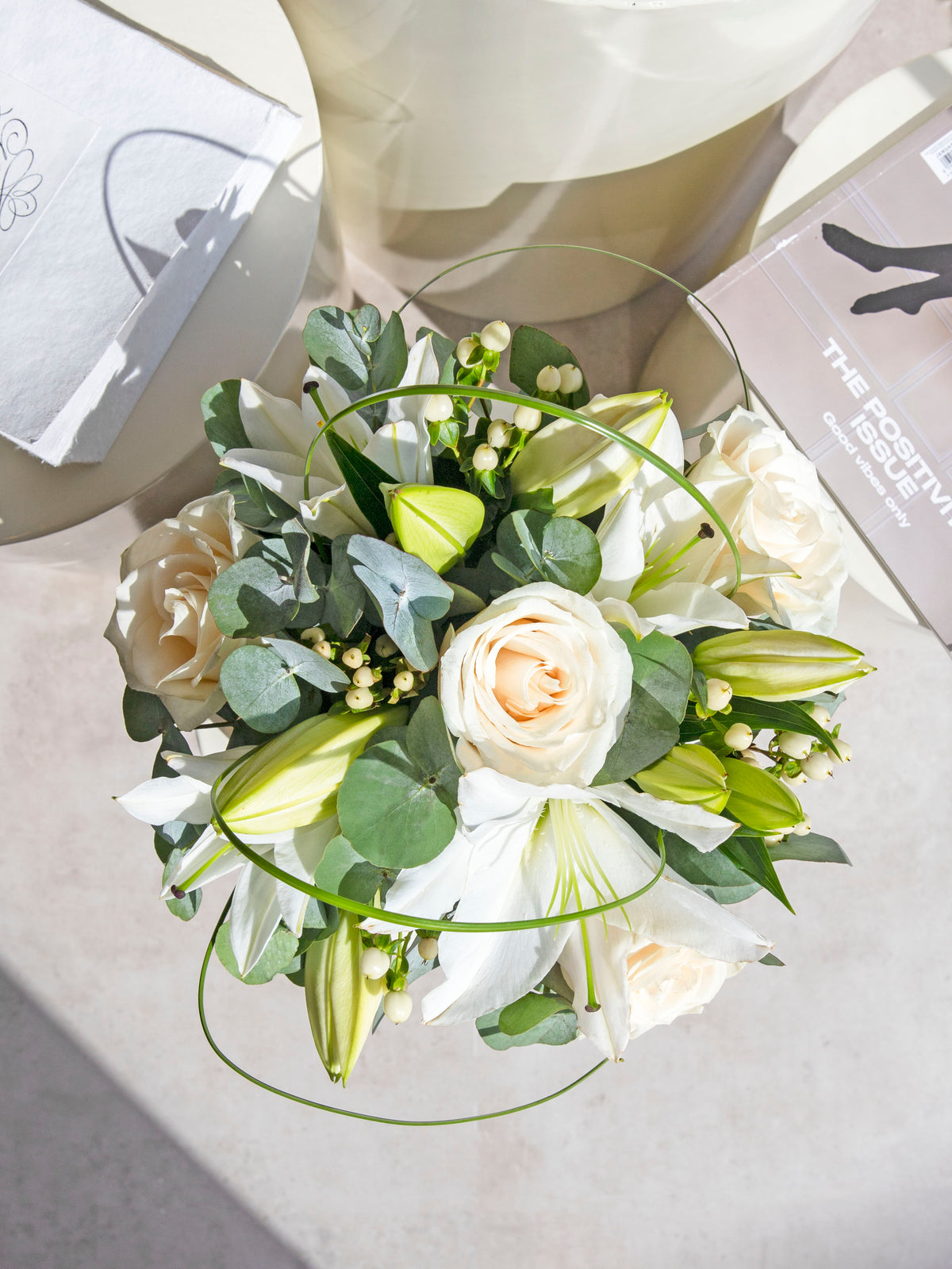White Rose and Lily Deluxe in a luxury ceramic vase with Sparkling Win