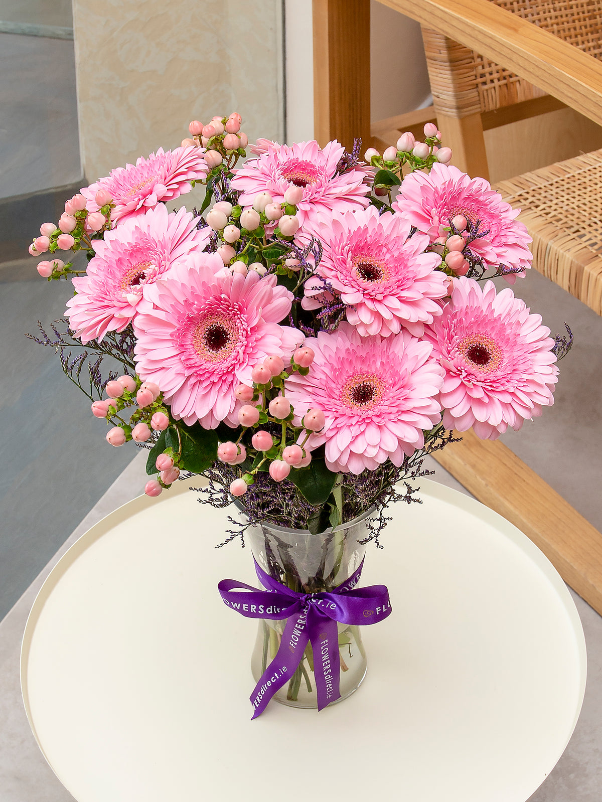 Pink Opera Flower arrangement in a Vase