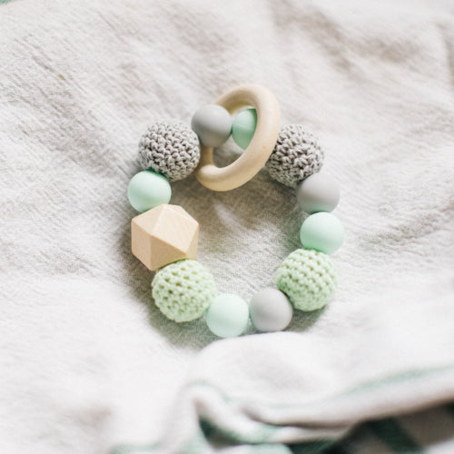 Green & Gray Teething Ring