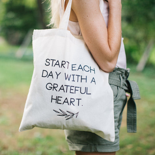Grateful Heart Canvas Tote