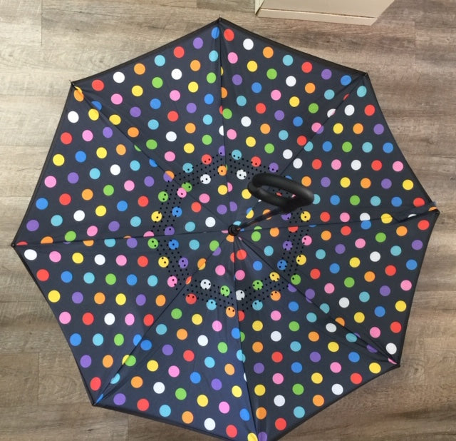 "48"" Auto Open Stylish Polka Dot Inversion Umbrella"