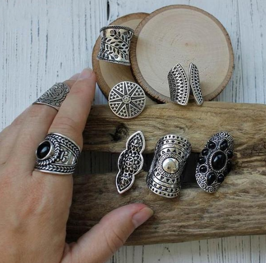 Tibetan Silver Ring Set (8pcs)