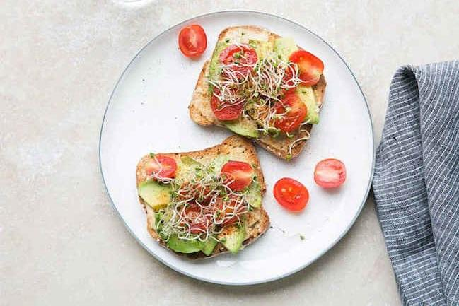 Hummus Tartine with Sprouts Recipe