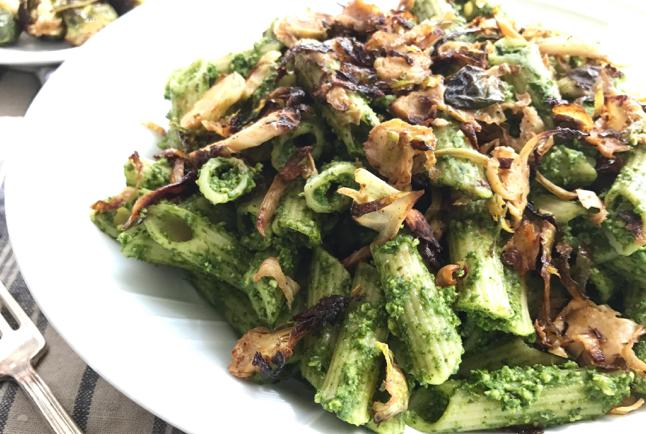 Spinach & Kale Pasta with Crispy Brussels Sprouts