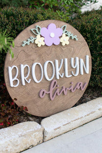 24 inch Name Round with Large Floral*