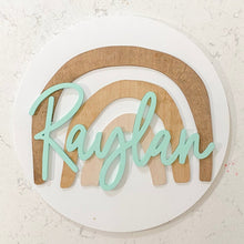 Load image into Gallery viewer, 18 inch Wooden Rainbow Name Round